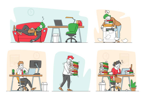 illustrazioni stock, clip art, cartoni animati e icone di tendenza di set of tired workers in office. overworked business characters sleep on workplace desk. laziness, emotional burnout - divano procrastinazione