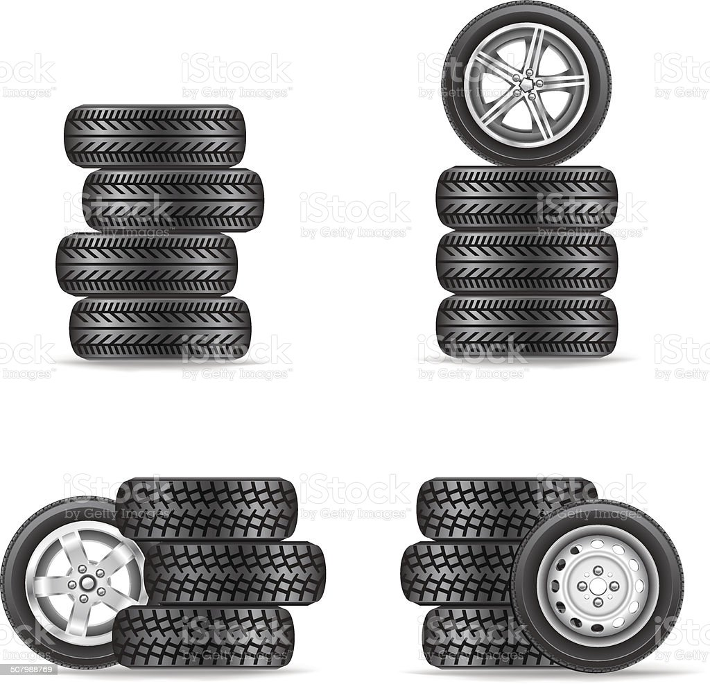 set of tires for cars vector art illustration