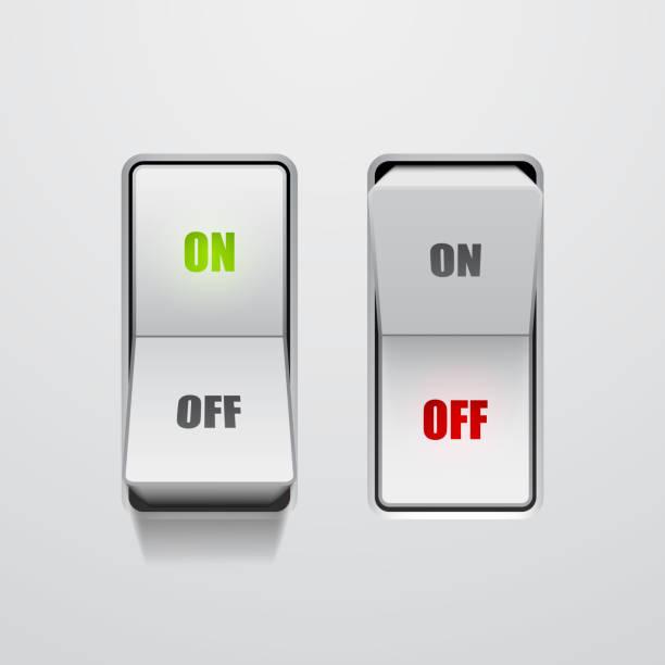 ilustraciones, imágenes clip art, dibujos animados e iconos de stock de conjunto de interruptores de palanca en las posiciones de encendido y apagado - interruptor