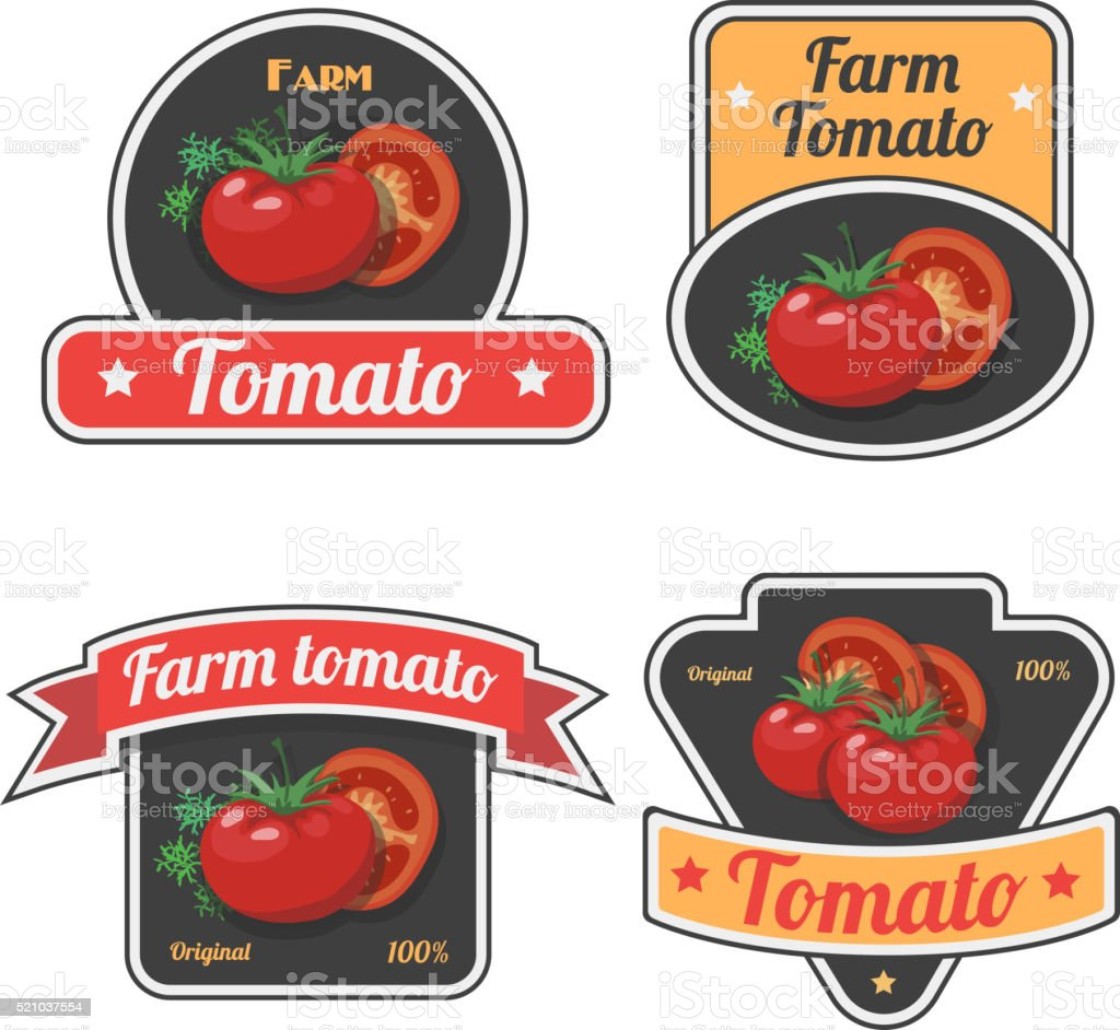 Set of tomato labels and symbols Vintage Vegetable fresh farm, vector art illustration