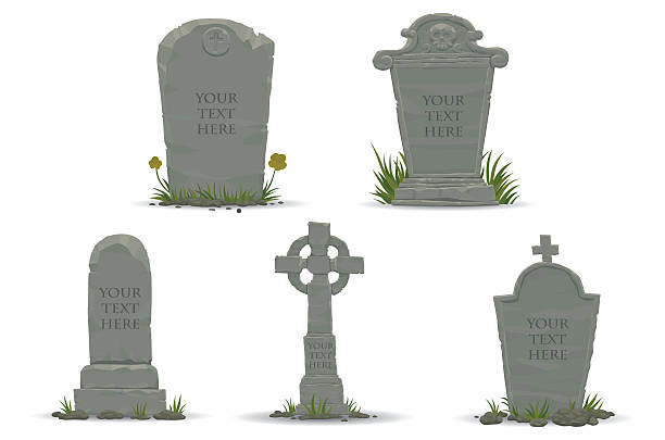 set of tombstones - tombstone stock illustrations