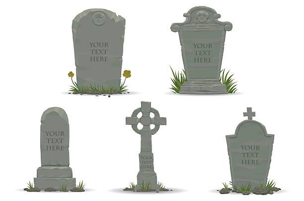 stockillustraties, clipart, cartoons en iconen met set of tombstones - graf