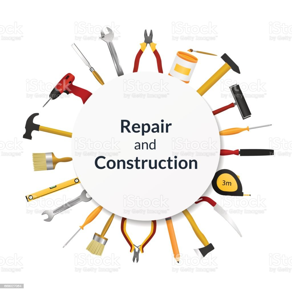 Set of tools for repair and construction vector art illustration