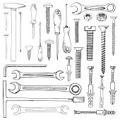 Set of tools, hardware. Different fastener isolated on white background. Hand drawn vector illustration of a sketch style.