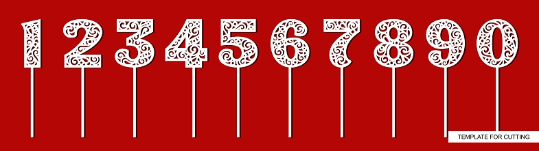 Set of toppers for birthday and anniversary. Number 1 (one), 2 (two), 3 (three), 4 (four), 5 (five), 6 (six), 7 (seven), 8 (eight), 9 (nine), 0 (zero).
