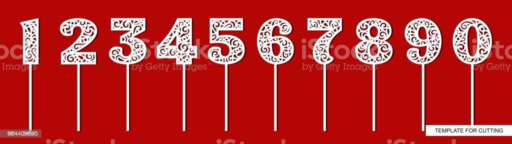 Conjunto de toppers para aniversário e aniversário. Número 1 (um), 2 (dois), 3 (três), 4 (quatro), 5 (cinco), 6 (seis), 7 (sete), 8 (oito), 9 (nove), 0 (zero). - ilustração de arte em vetor