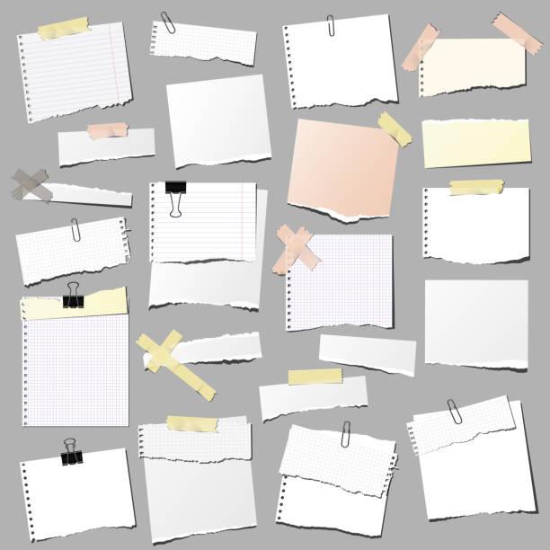 zestaw podartych notatek papierowych, izolowanych na szarym tle. - notes stock illustrations