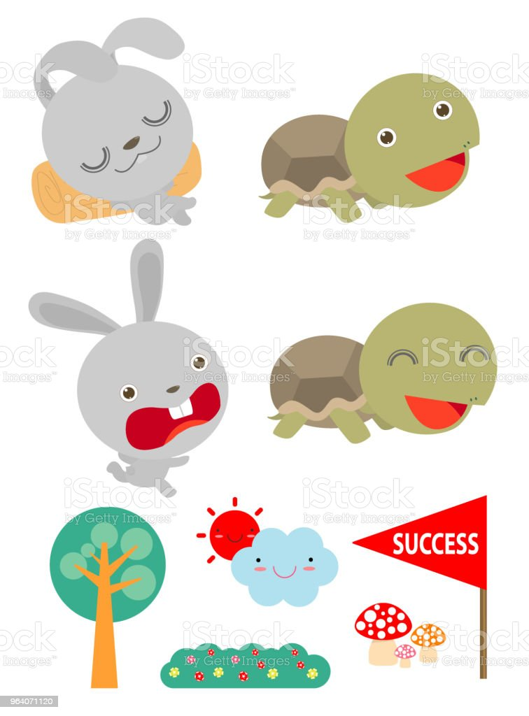 Set of Tortoise and the Hare,Turtle and rabbit racing together to win,  Flat style isolated on white background. vector illustration - Royalty-free Animal stock vector