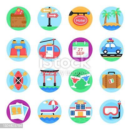 istock Set of Tourism Flat Round Icons 1324823754