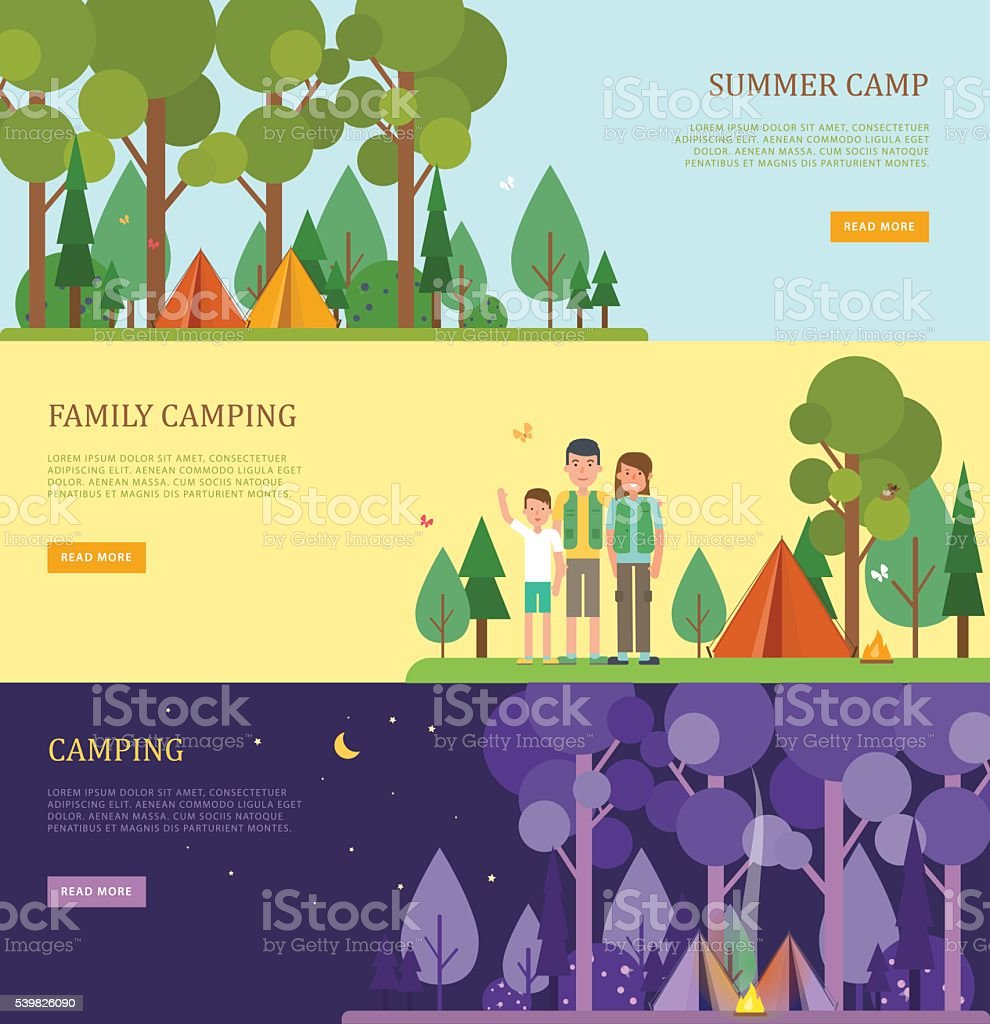 Set of tourist banners for summer and family camping. vector art illustration