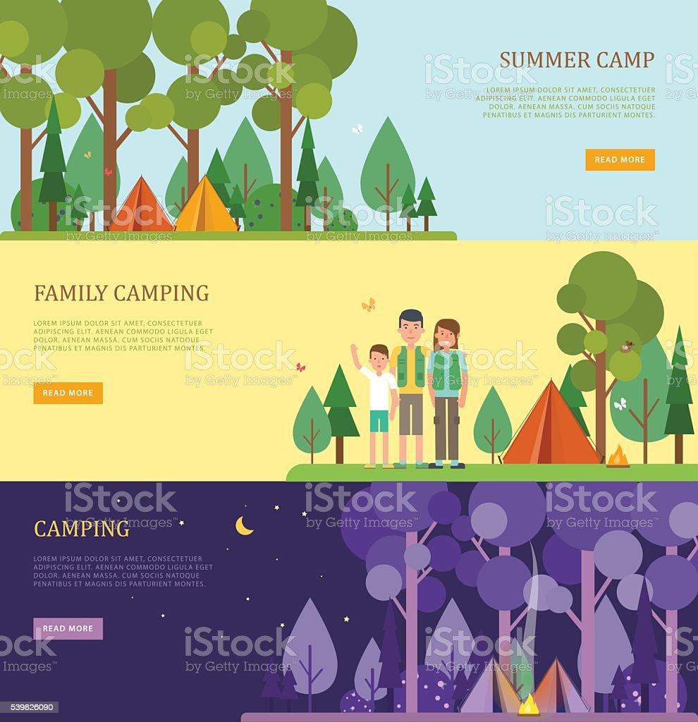 のセット観光バナー、夏は家族のキャンプます。 ベクターアートイラスト