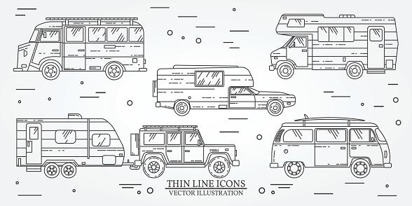 Set Of Tourist Bus Suv Trailer Jeep Rv Camper Trailer Stock Illustration -  Download Image Now