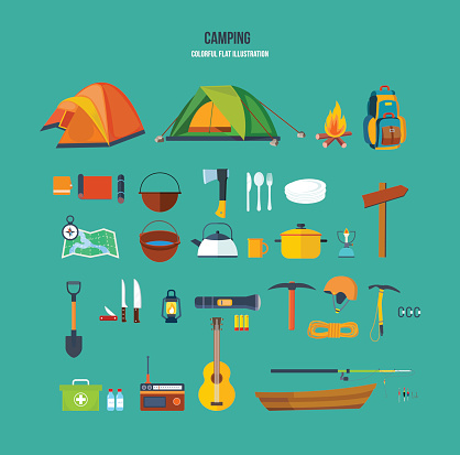 Set of tourist, camping sites, backpackers, climbers, for active recreation