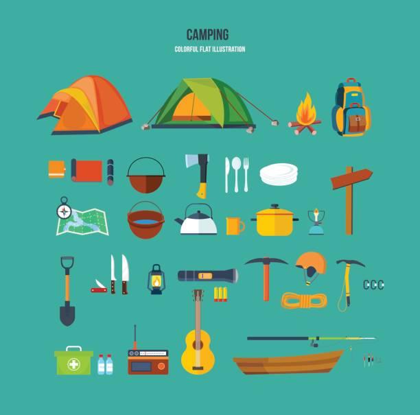 satz von touristen, campingplätze, rucksackreisende, bergsteiger, für aktive erholung - zeltausrüstung stock-grafiken, -clipart, -cartoons und -symbole
