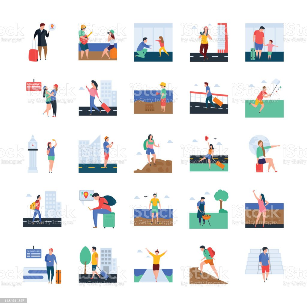 Set of Tourists Illustrations