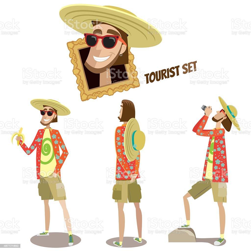 Set of tourists vector art illustration
