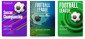 Set of tournament posters of football or soccer league. Design of banners for sport events. Template of advertising for world championship of soccer or football, 3D illustration.