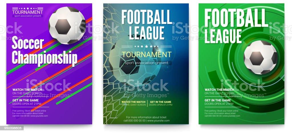 Conjunto de carteles del torneo de Liga del balompié o fútbol. Diseño de banners para eventos deportivos. Plantilla de publicidad para el Campeonato del mundo de fútbol o fútbol, Ilustración 3D - ilustración de arte vectorial