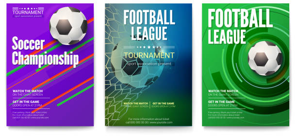 Set of tournament posters of football or soccer league. Design of banners for sport events. Template of advertising for world championship of soccer or football, 3D illustration vector art illustration