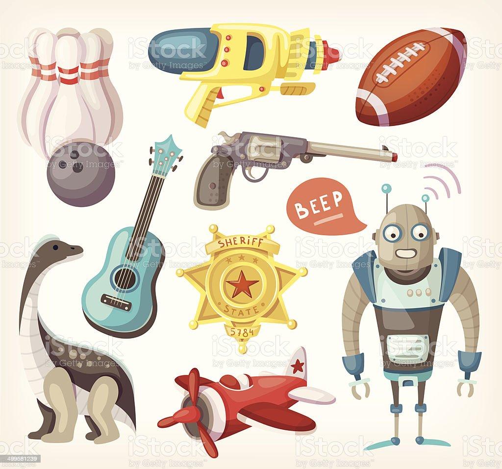 Satz von Spielzeug für Kinder und einige Angebote für Sport – Vektorgrafik