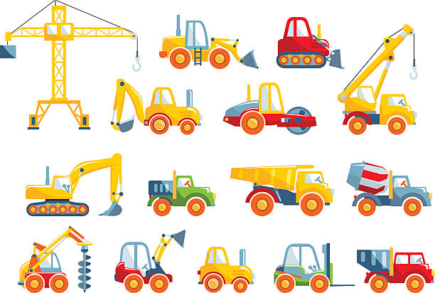 Set of toys heavy construction machines in a flat style. vector art illustration