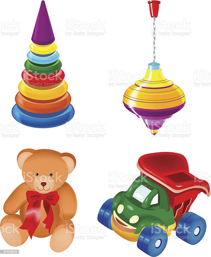 set of toys. vector illustration royalty-free set of toys vector illustration stock vector art & more images of blue