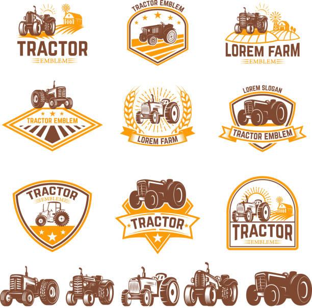 illustrazioni stock, clip art, cartoni animati e icone di tendenza di set of tractor emblems. farmers market. design element for  label, sign. - trattore