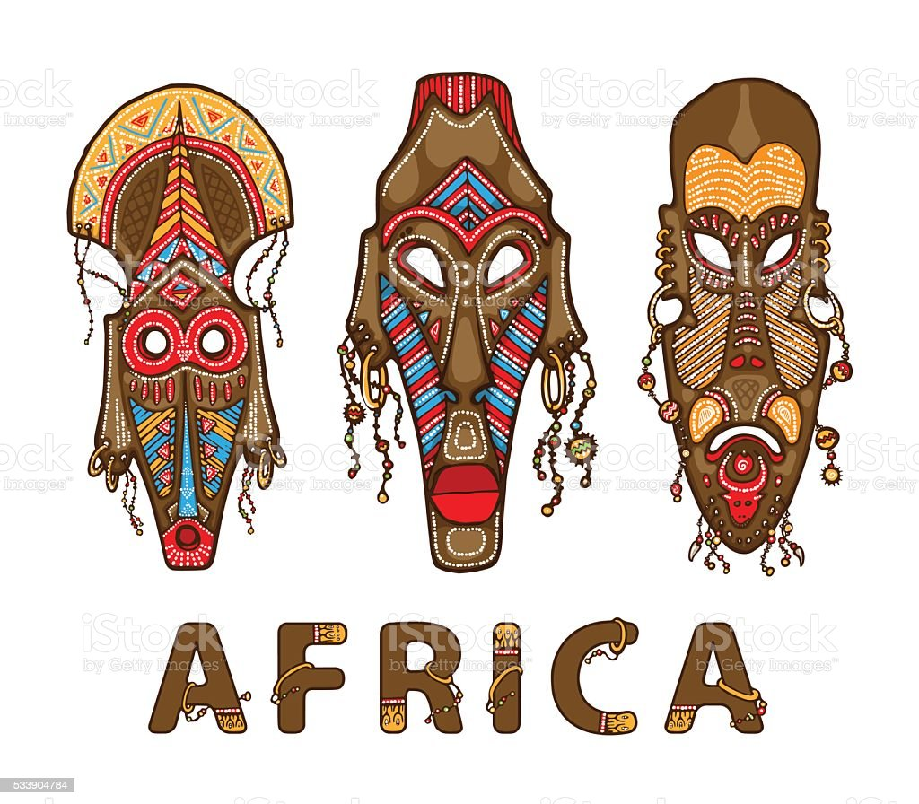 Set of traditional african masks vector art illustration