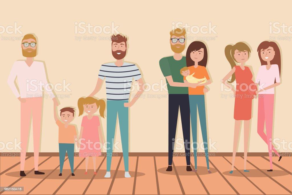 Jeu de famille traditionnelle et non traditionnels avec des enfants. - Illustration vectorielle