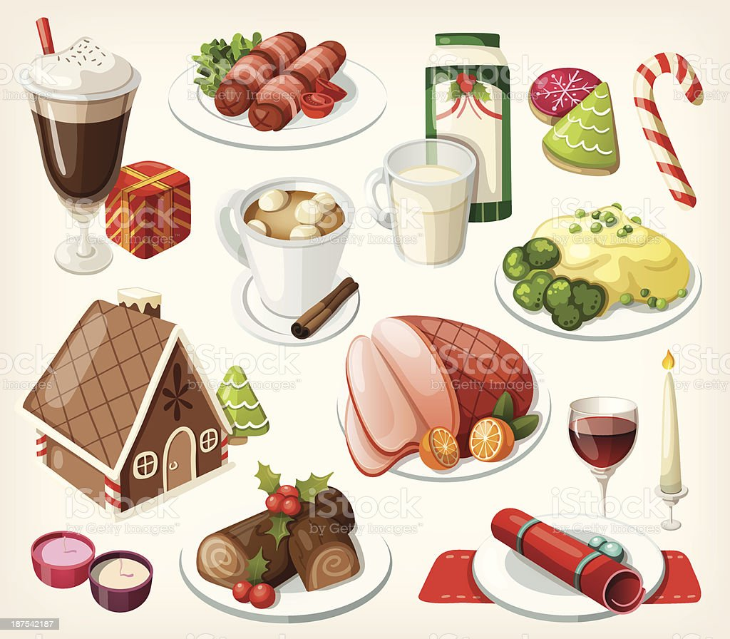 Set of traditional christmas food and desserts vector art illustration