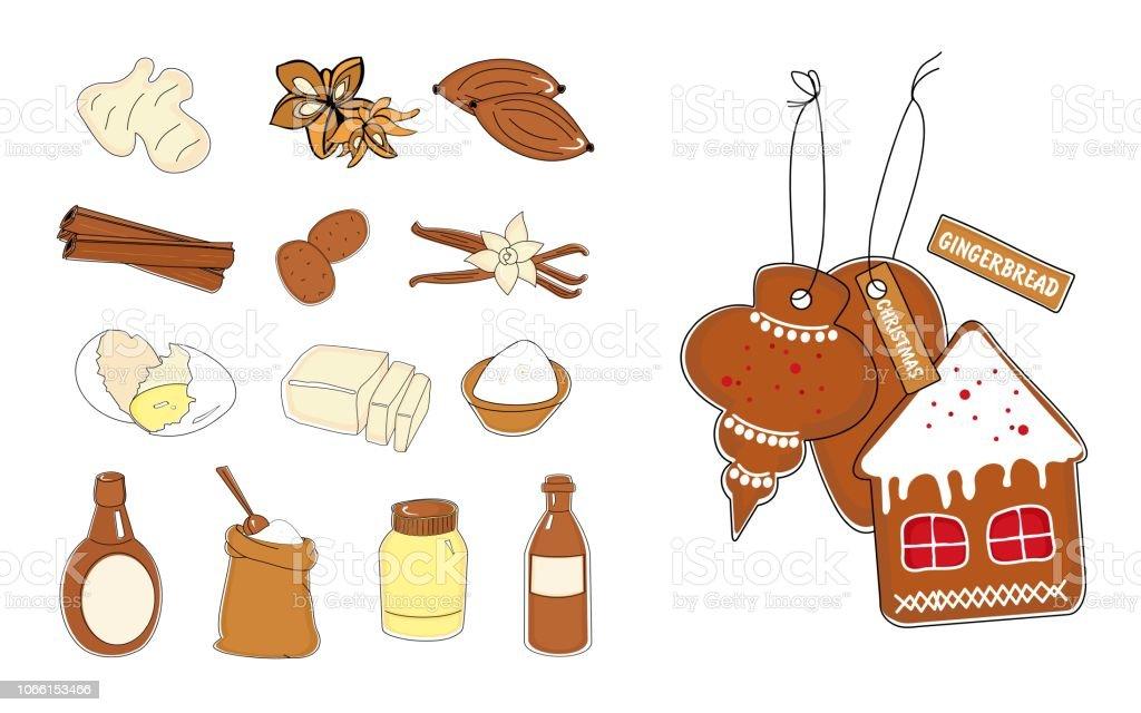 Weihnachtsgebäck Clipart.Satz Von Traditionellen Weihnachtsgebäck Honiglebkuchen Und Zutaten