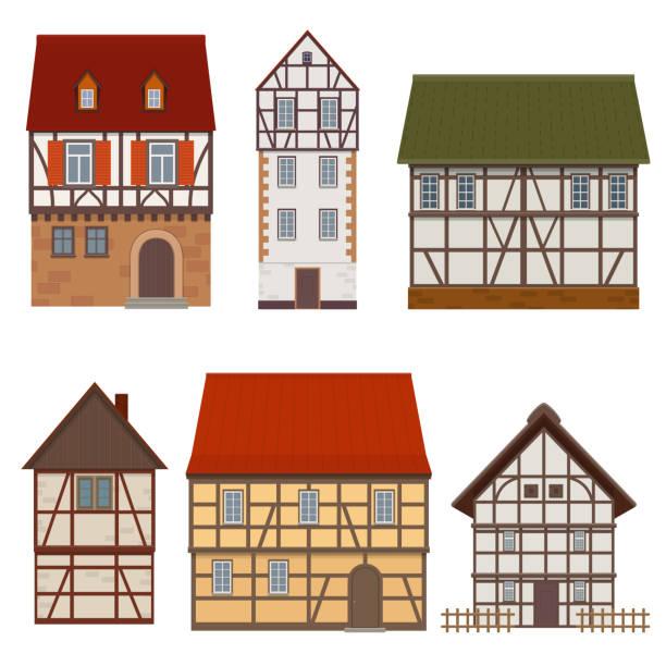 중세는 골조의 전통적인 외관의 집합 주택 - 독일 문화 stock illustrations