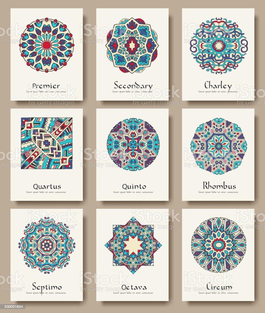 Set of traditional flyer pages ornament set illustration concept. - Royaltyfri Affisch vektorgrafik