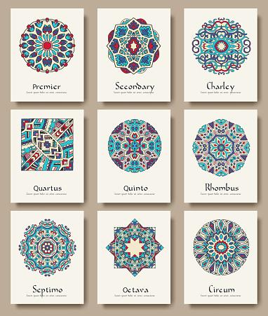 Set Of Traditional Flyer Pages Ornament Set Illustration Concept-vektorgrafik och fler bilder på Affisch