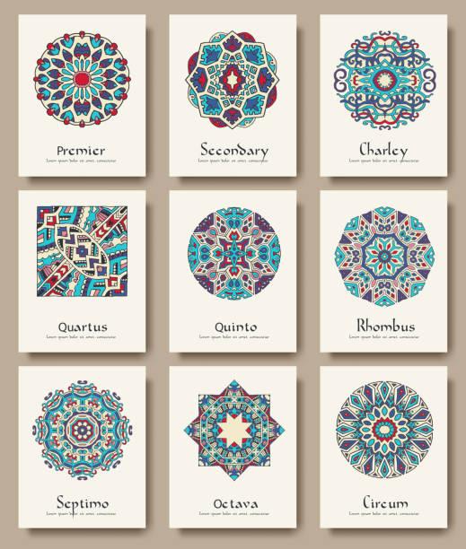 bildbanksillustrationer, clip art samt tecknat material och ikoner med set of traditional flyer pages ornament set illustration concept. - latino music