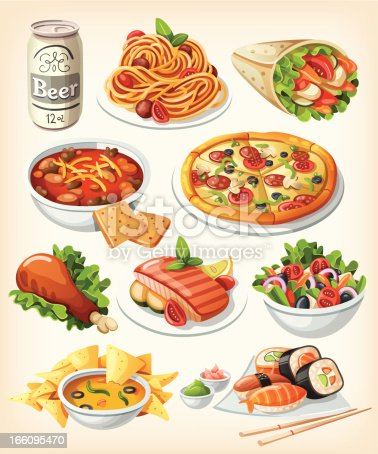 Set of traditional food icons. Vector EPS10.