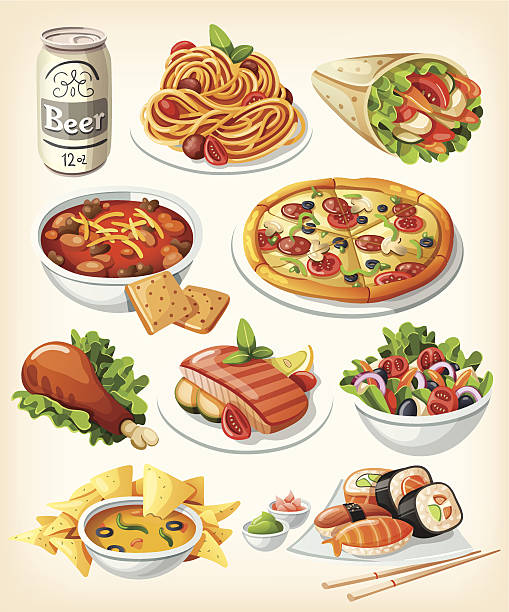food cartoon drink vector illustrations clip traditional icons filter graphics