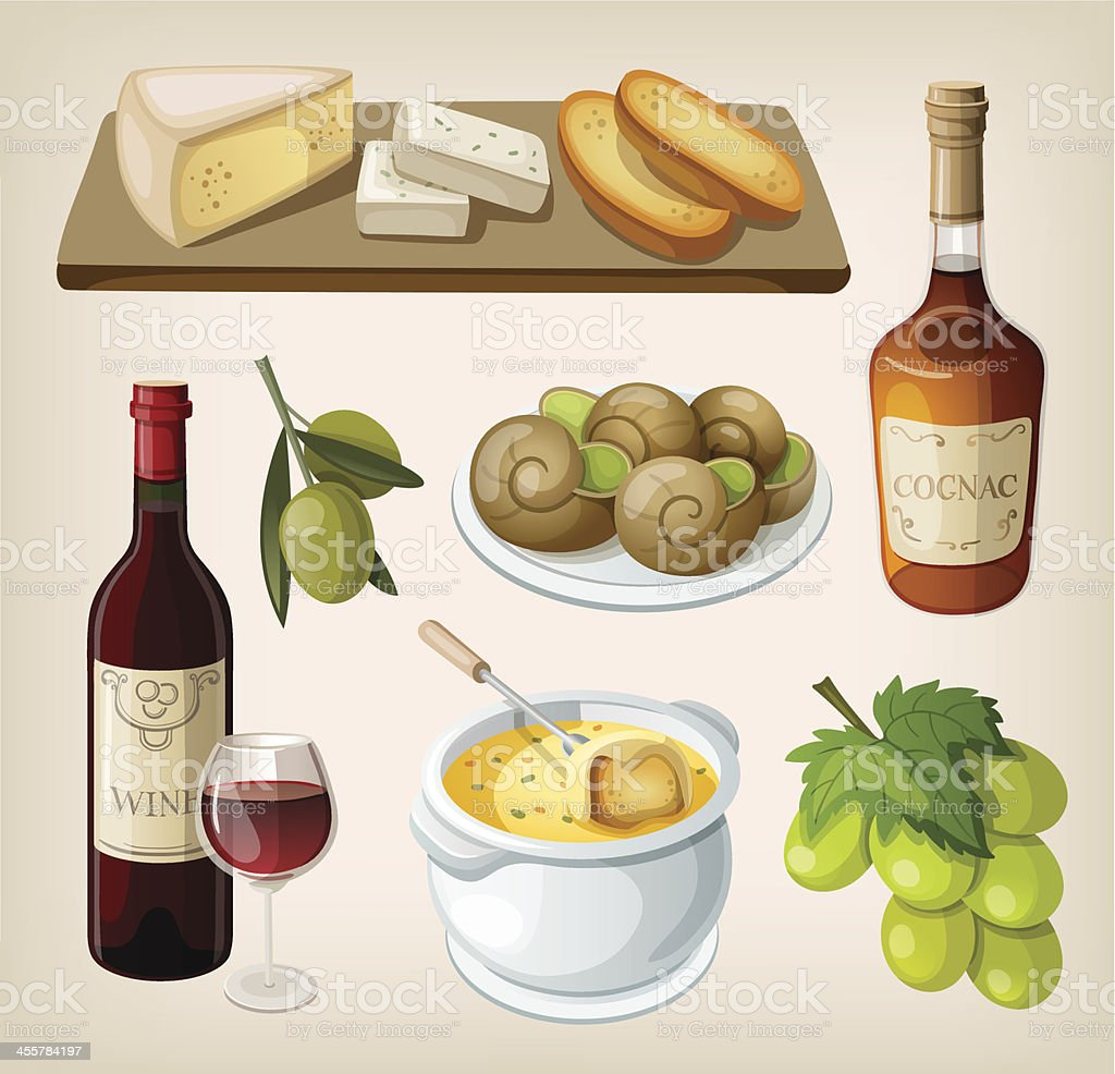 Set of traditional french drinks and appetizers vector art illustration
