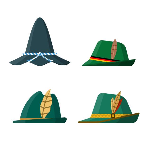 전통 그린 모자 세트 - 독일 문화 stock illustrations