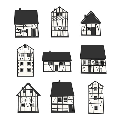 Set of Traditional Half Timbered Houses.
