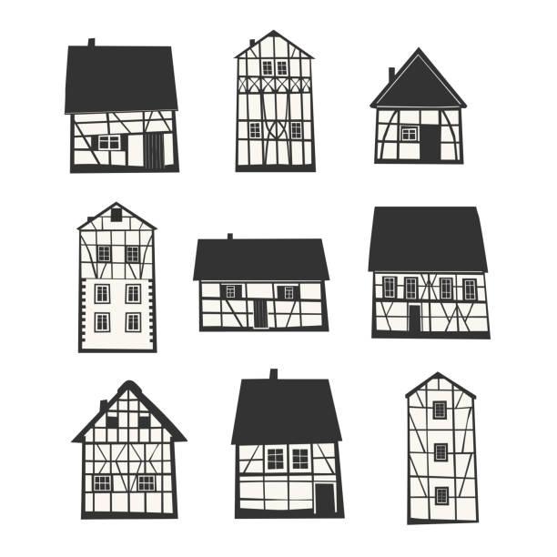 전통 반 목조 집의 집합입니다. - 독일 문화 stock illustrations