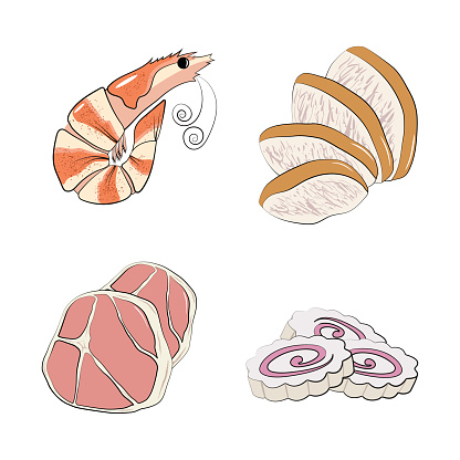 Set of traditional Japanese or Korean food - shrimp, pork, chicken and narutomaki. Set of ingredients for traditional Oriental ramen noodle soups. Vector illustration in hand-drawn style on a white background.