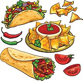 Set of traditional Mexican food - burrito, taco, nachos, salsa