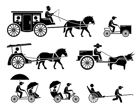 Set of traditional, old, and ancient ground transportations.