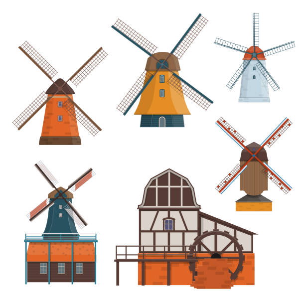 set of traditional rural windmill and watermill - holandia stock illustrations