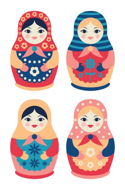 illustrazioni stock, clip art, cartoni animati e icone di tendenza di set of traditional russian wooden dolls in flat style. collection of nesting matryoshkas - souvenir