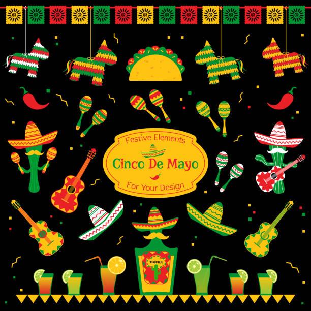 bildbanksillustrationer, clip art samt tecknat material och ikoner med uppsättning av traditionella symboler för cinco de mayo - cactus lime