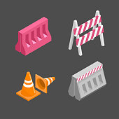 Set of traffic barriers for road repair. Under construction signs. Isometric vector illustration.