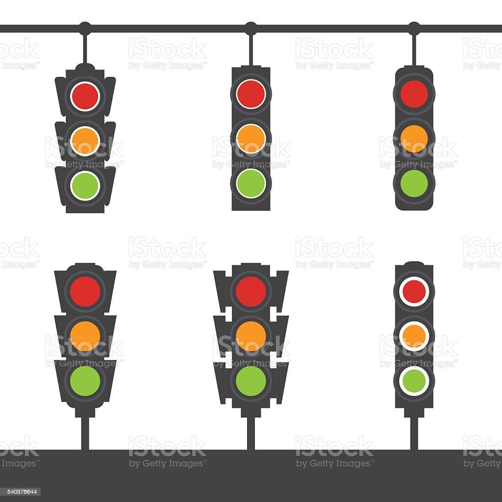 Set of traffic light icons vector art illustration