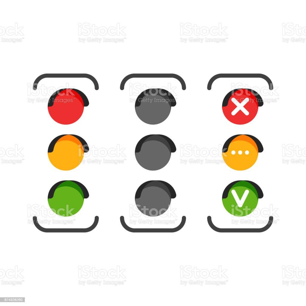 Iconos Conjunto de semáforo - ilustración de arte vectorial